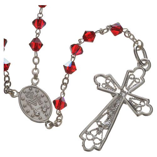 Rosary beads in silver and Swarovski 0,2in red 2