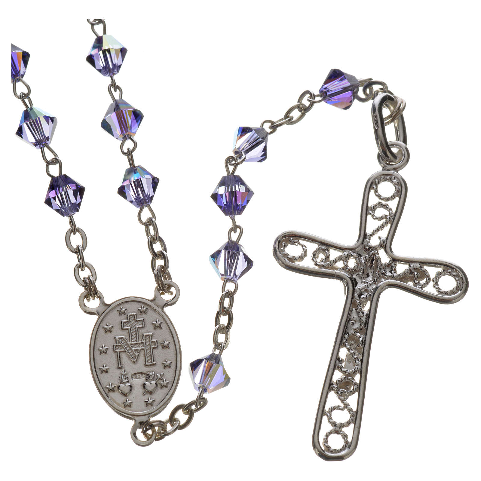 Rosary beads in silver and Swarovski 0,2in amethyst 4