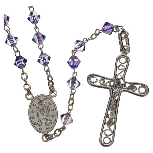 Rosary beads in silver and Swarovski 0,2in amethyst 2