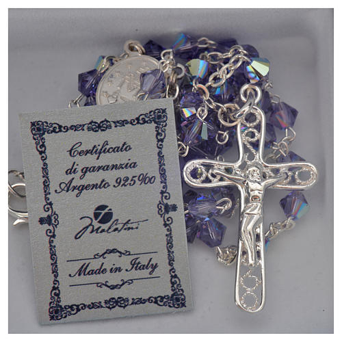 Rosary beads in silver and Swarovski 0,2in amethyst 5