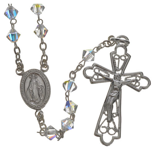 Rosary beads in silver and Swarovski 0,2in crystal 1