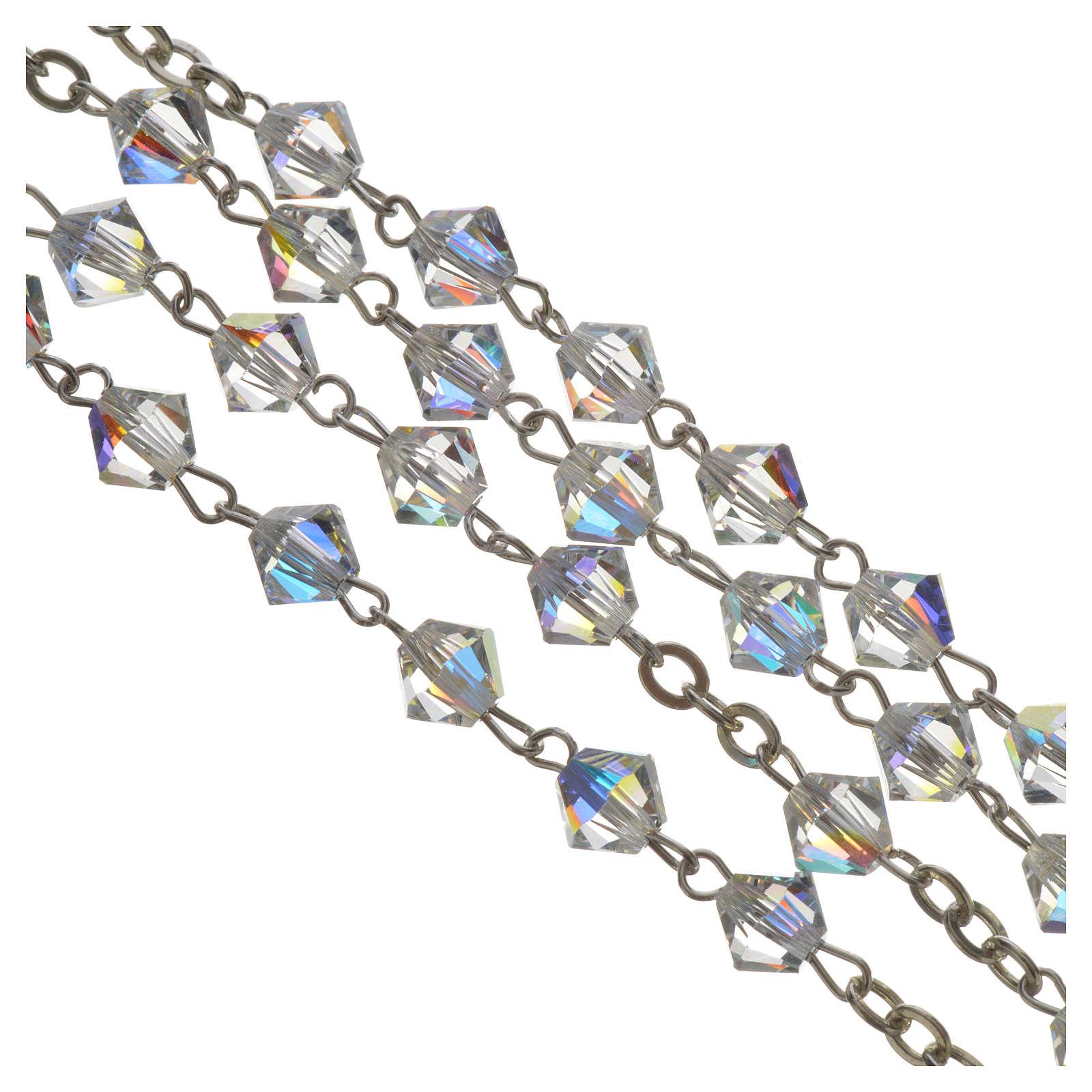 Rosario Plata y Swarovski 5mm cristal 4