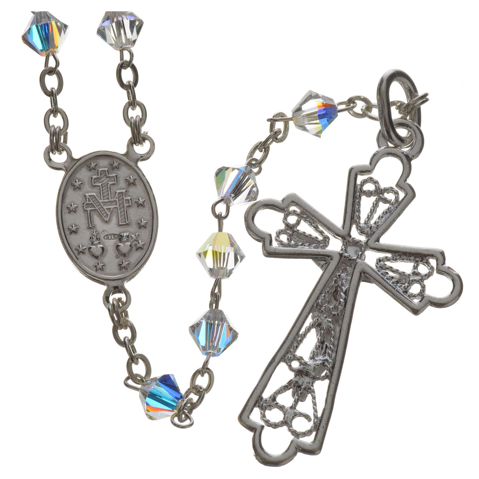 Rosary beads in silver and Swarovski 0,2in crystal 4