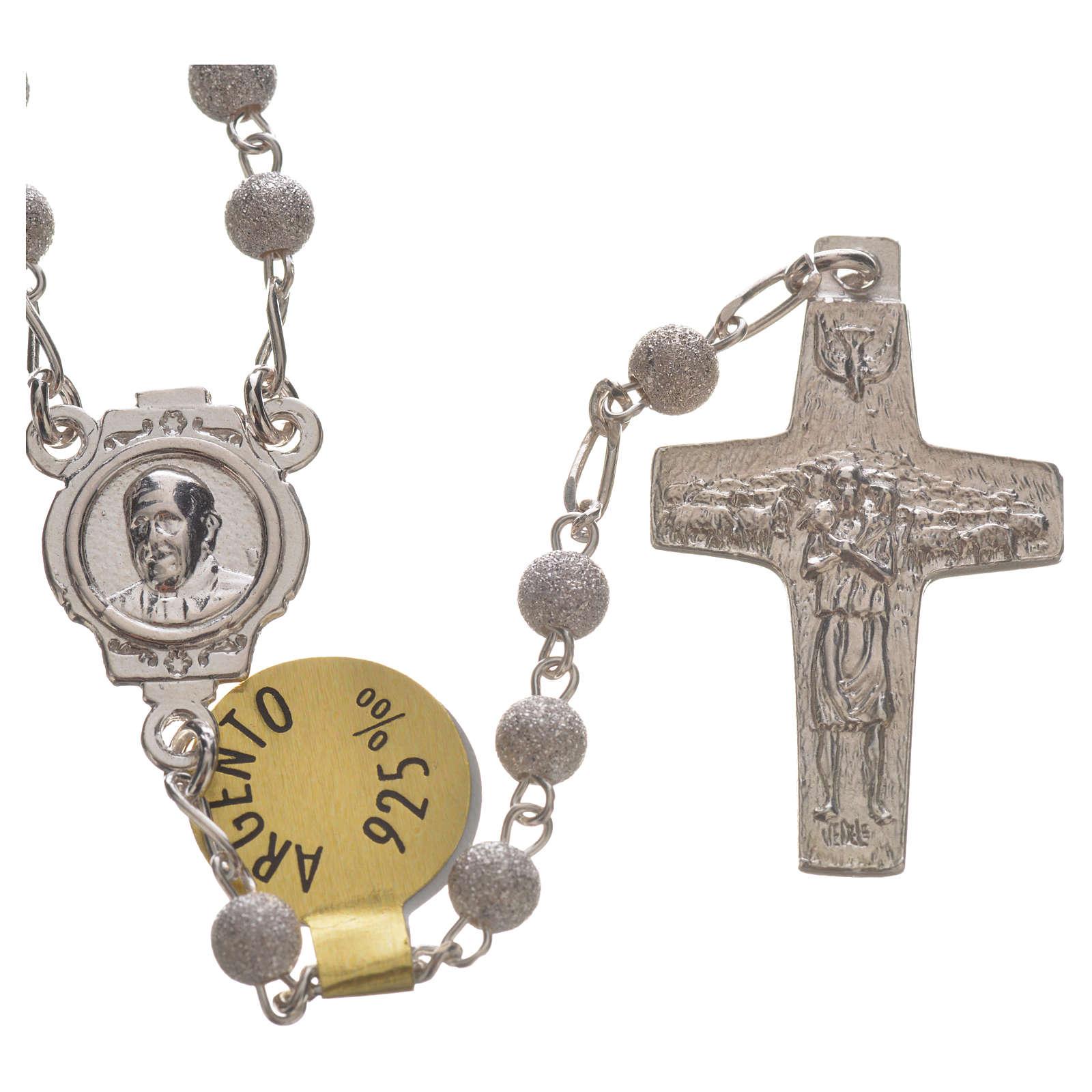 Rosario Plata 925, buen Pastor Papa Francisco 4mm 4
