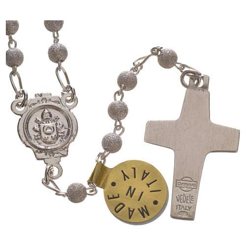 Rosary beads in silver Good Shepherd cross Pope Francis 0,16in 2