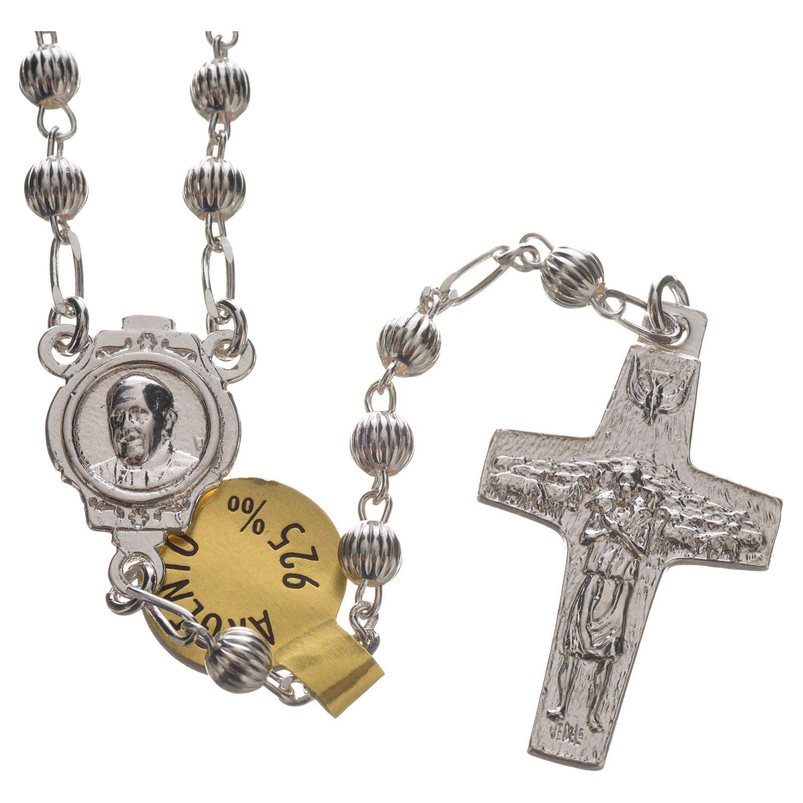 Chapelet en argent 925 Pape François 4mm 4