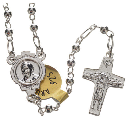 Rosary beads in silver, Pope Francis 0,12in 6