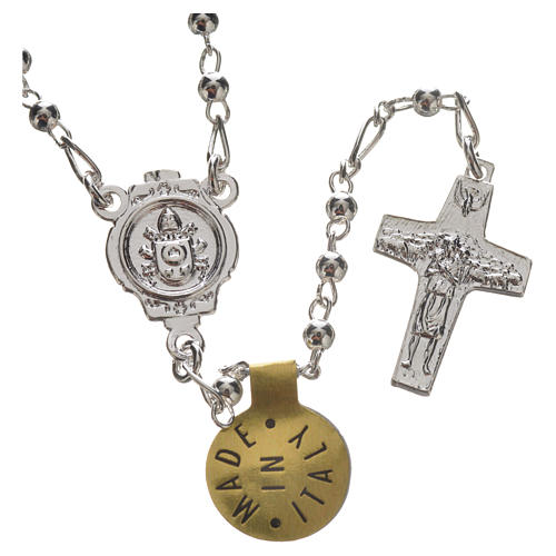 Rosary beads in silver, Pope Francis 0,12in 7