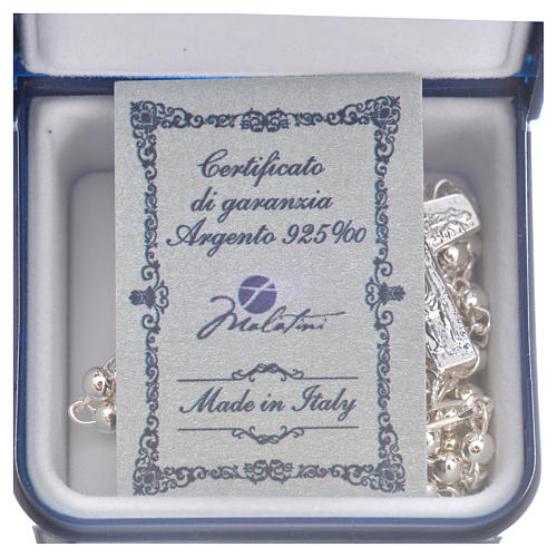 Rosary beads in silver, Pope Francis 0,12in 10