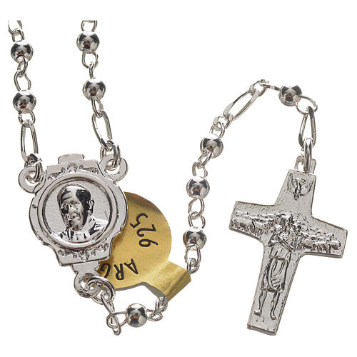 Rosary beads in silver, Pope Francis 0,12in 1
