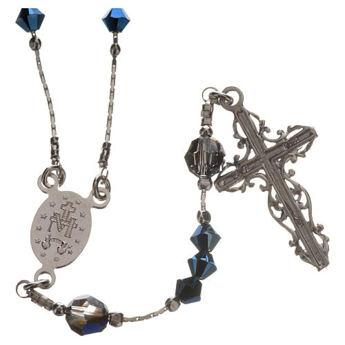 Rosary beads in rhodium-plated sterling silver and Swarovski 0,2 2