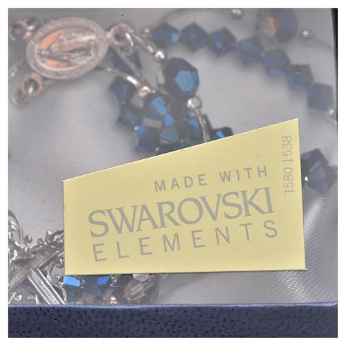 Rosario Plata y Swarovski azul 5 mm 5