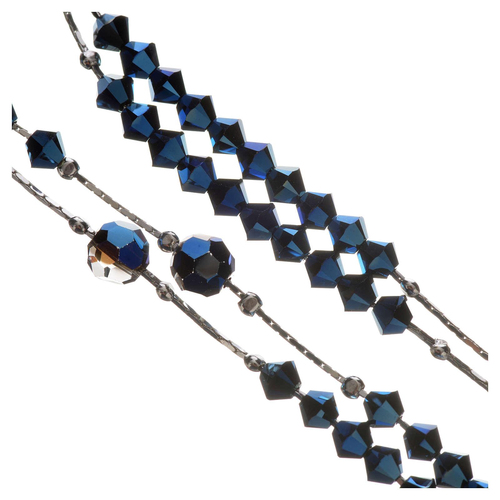 Chapelet Argent 925 rhodié et Swarovski 5mm Bleu 4