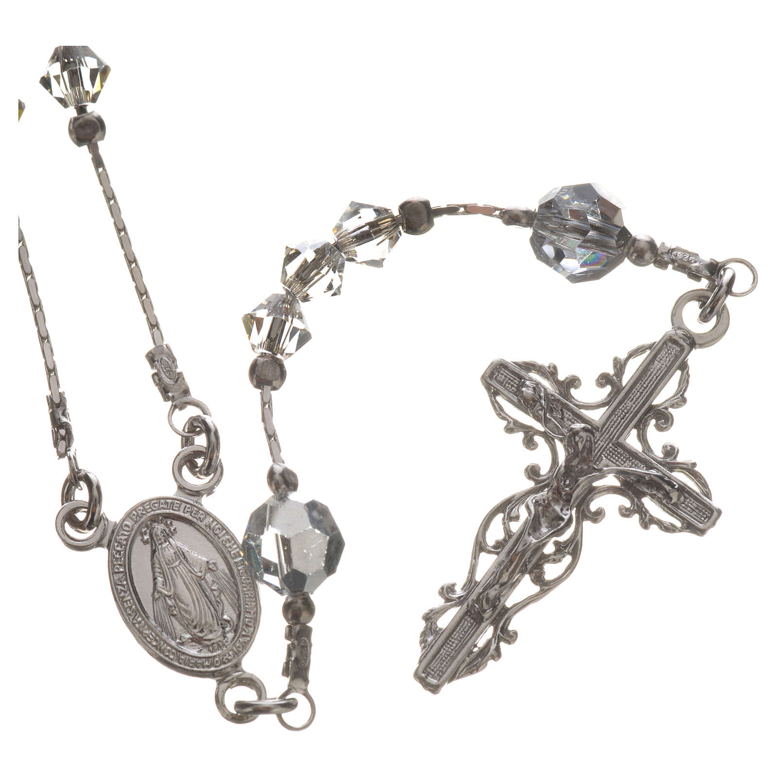Rosary beads in rhodium-plated sterling silver and Swarovski 0,2 4