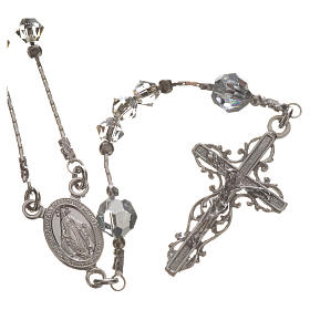 Rosary beads in rhodium-plated sterling silver and Swarovski 0,2 s1