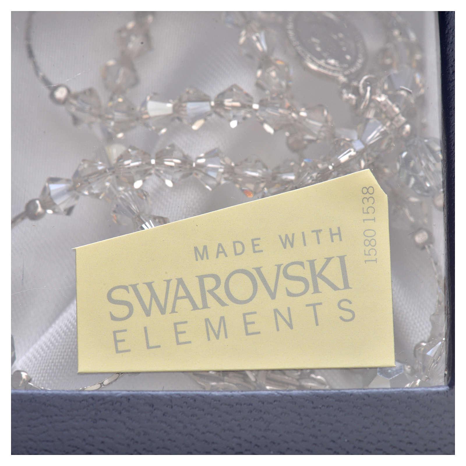 Rosario Argento Swarovski rodiato cristallo 5 mm 4