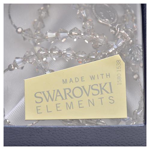 Rosario Argento Swarovski rodiato cristallo 5 mm 5