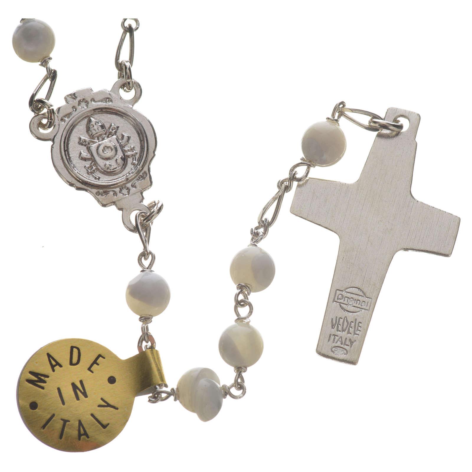 Terço prata 925 madrepérola Papa Francisco 4
