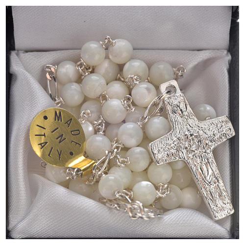 Terço prata 925 madrepérola Papa Francisco 5