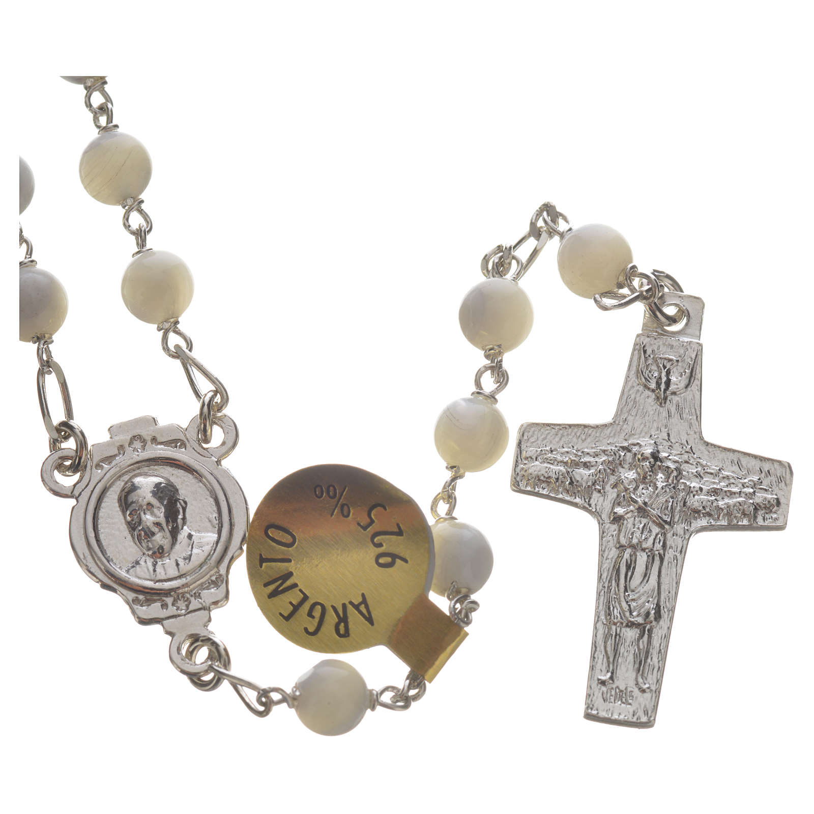 Rosary beads in sterling silver and mother-of-pearl, Pope Franci 4