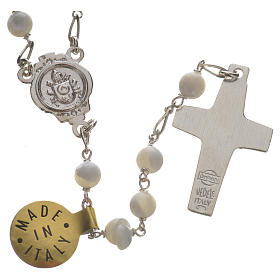 Rosary beads in sterling silver and mother-of-pearl, Pope Franci s2