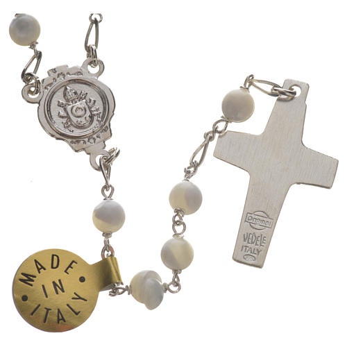 Rosary beads in sterling silver and mother-of-pearl, Pope Franci 2