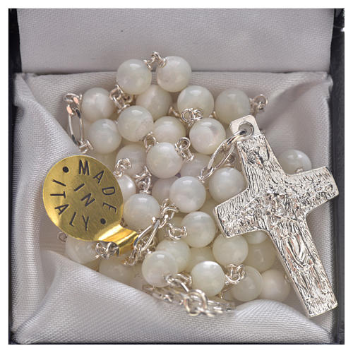 Rosary beads in sterling silver and mother-of-pearl, Pope Franci 5
