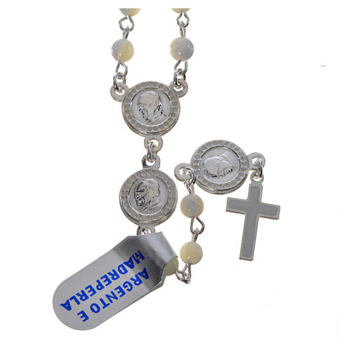Pope Francis rosary in 925 silver and mother of pearl 1