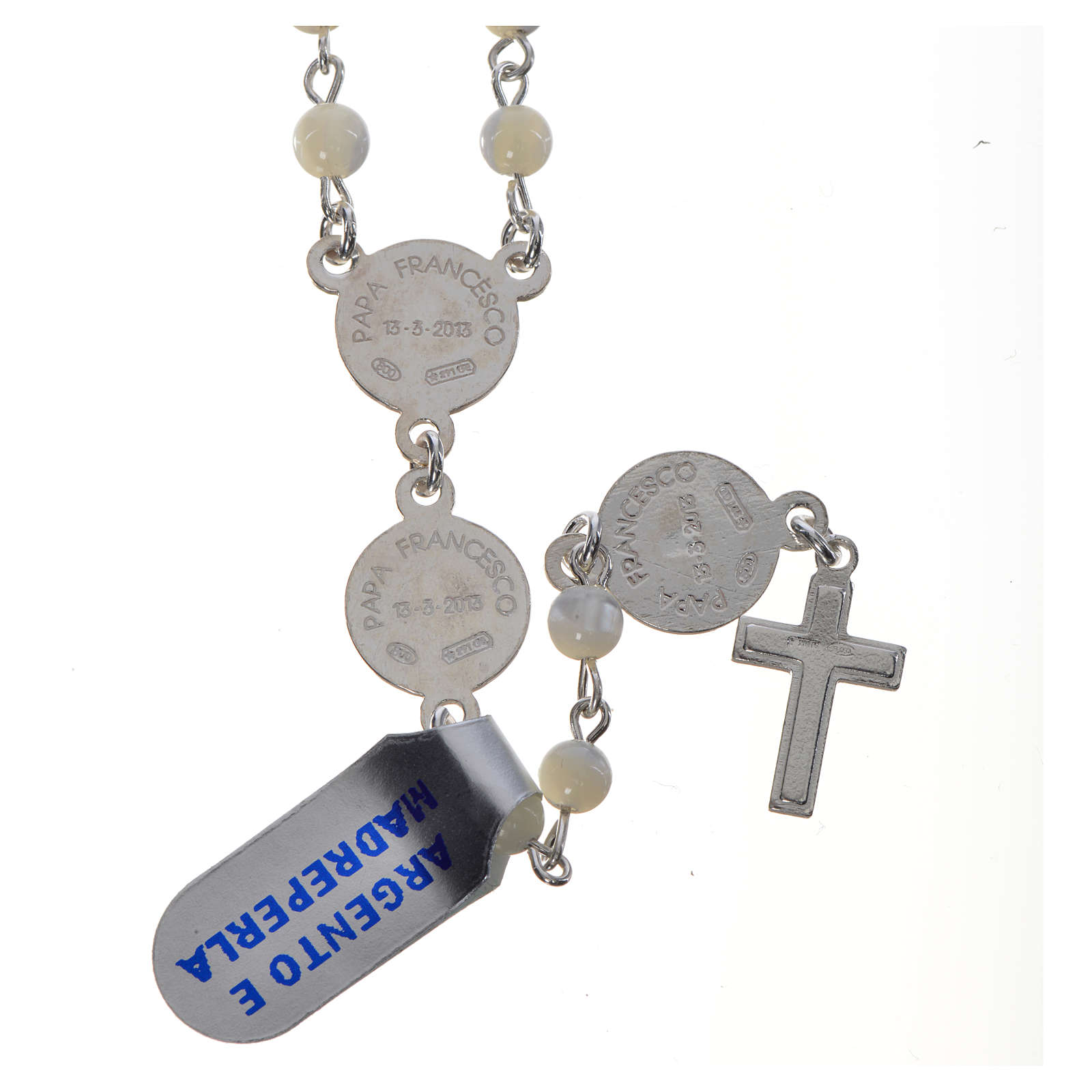 Pope Francis rosary in 925 silver and mother of pearl 4