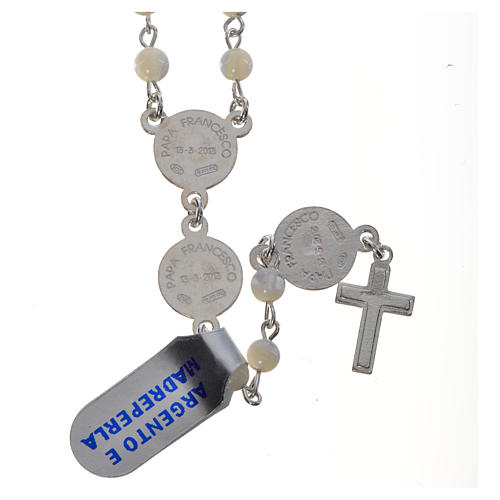 Pope Francis rosary in 925 silver and mother of pearl 2