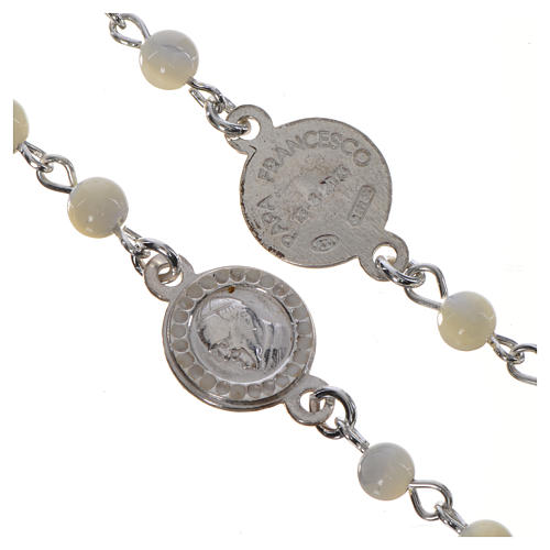Pope Francis rosary in 925 silver and mother of pearl 3