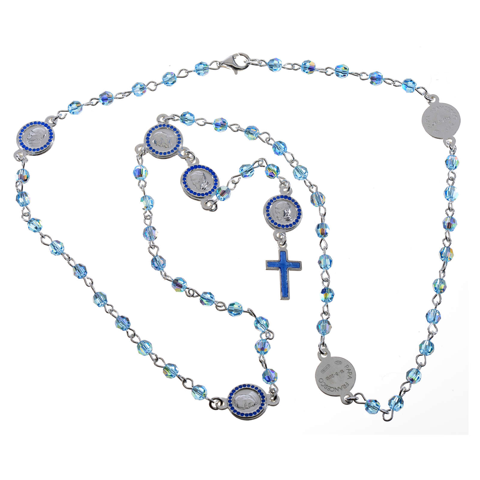 Chapelet Pape François Swarovski bleus argent 800 4