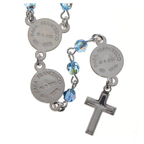 Chapelet Pape François Swarovski bleus argent 800 2