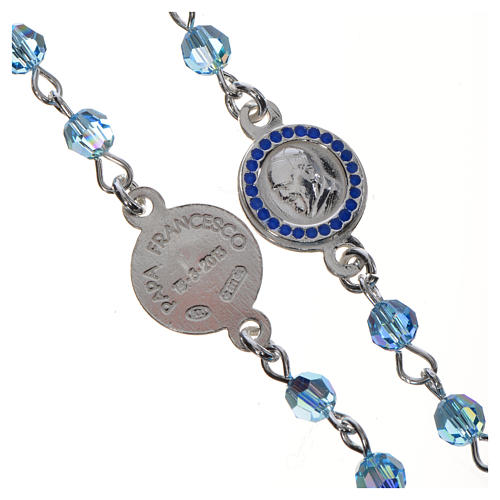 Chapelet Pape François Swarovski bleus argent 800 3
