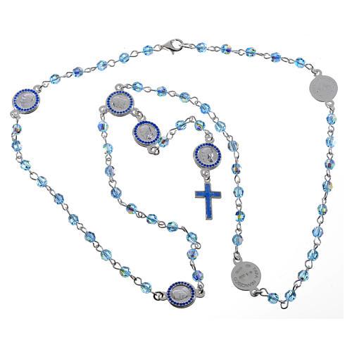 Chapelet Pape François Swarovski bleus argent 800 5