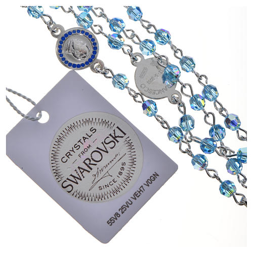 Chapelet Pape François Swarovski bleus argent 800 6