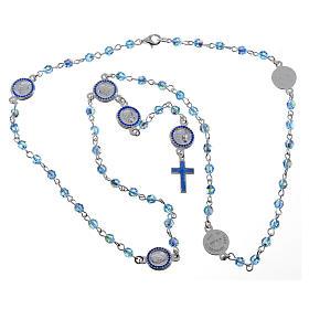 Rosario Papa Francesco Swarovski azzurri argento 800 s5