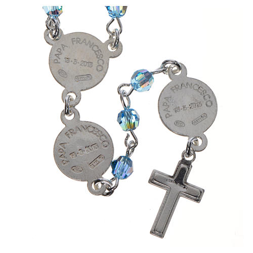 Rosario Papa Francesco Swarovski azzurri argento 800 2