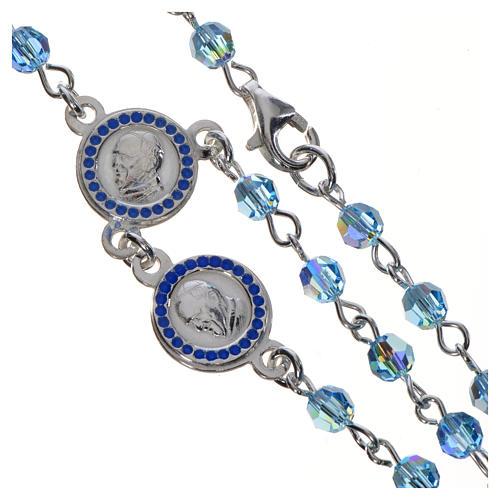 Rosario Papa Francesco Swarovski azzurri argento 800 4