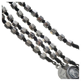Pope Francis rosary in 800 silver, hexagonal grains s4
