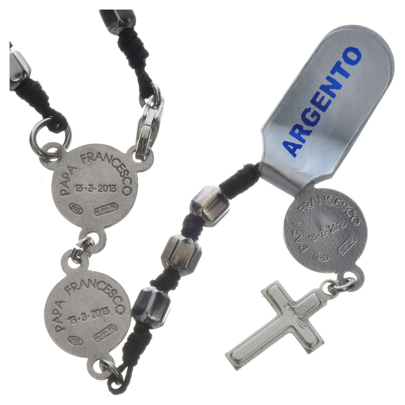 Pope Francis rosary in 800 silver, hexagonal grains 4