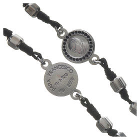 Pope Francis rosary in 800 silver, hexagonal grains s3