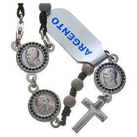Pope Francis rosary in 800 silver, diamond-cut grains s1