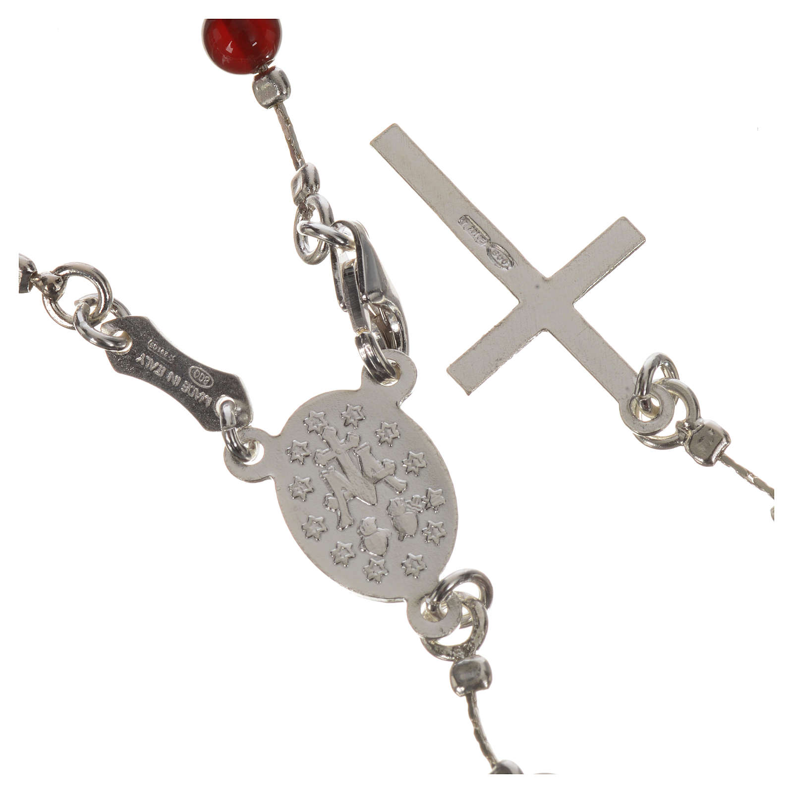 Rosary in 925 silver and carnelian 4