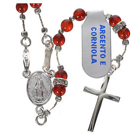 Rosary in 925 silver and carnelian s12