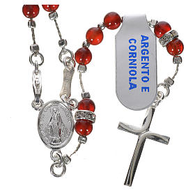 Rosary in 925 silver and carnelian s1