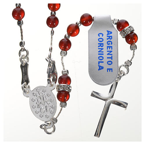 Rosary in 925 silver and carnelian 2