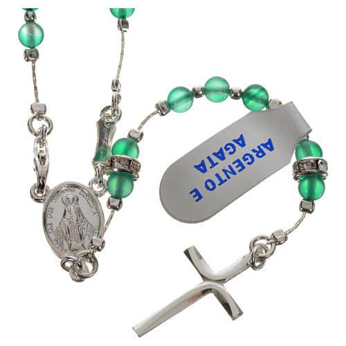 Rosenkranz Silber 800 und Achat-Perlen 1