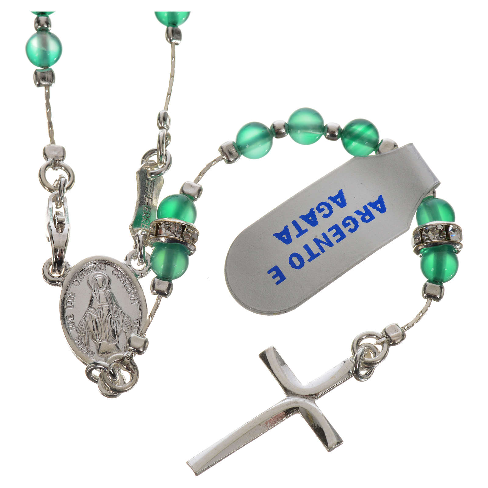 Rosary beads in 800 silver and agate 4