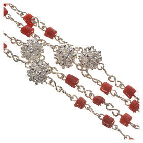 Rosary beads in 800 silver and coral s4